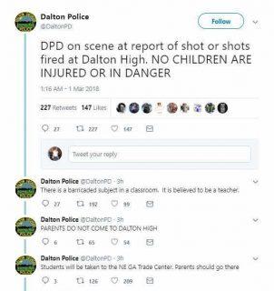 佐治亚Dalton高中教师开枪被逮捕,目前并无学生伤亡