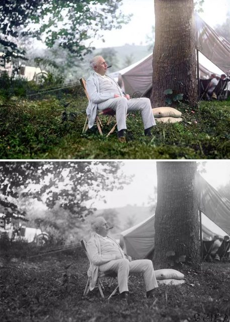 她给黑白照片加上了颜色,历史事件变成了现场直播的错觉...