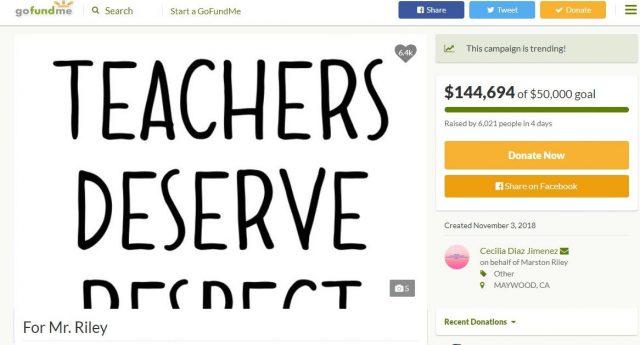 因遭种族侮辱击打学生 加州非裔教师获超14万网络集资