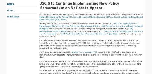 移民政策继续收紧 美国移民局将对下列几类签证申请的被拒签人发放出庭通知