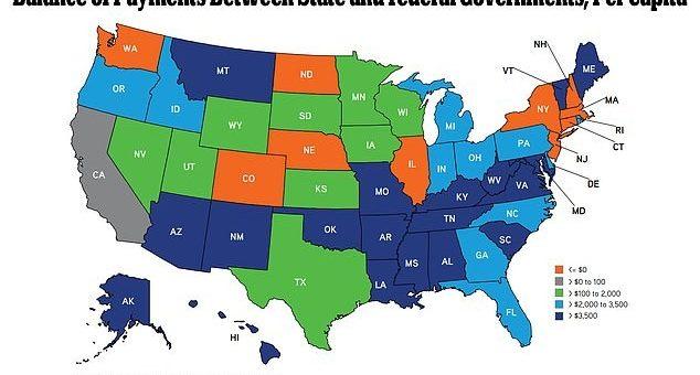 """这10州是美国政府""""钱包"""" 缴纳联邦税金多于国家拨款"""