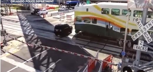 开到铁路交叉口要小心!佛州一司机尝试越轨被列车撞飞