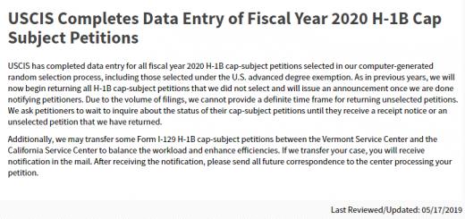 移民局完成H-1B数据录入 未中签者将陆续收到退件