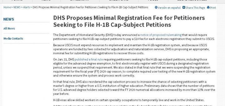 国安部拟推新规,征收H1-B申请者电子注册费