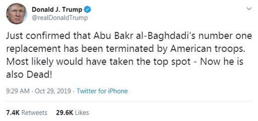 川普又宣布了 ISIS领袖头号继任者也被美军杀死
