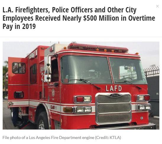 5亿加班费!洛杉矶警察消防员加班超过800万小时!年薪13万加班费36万!