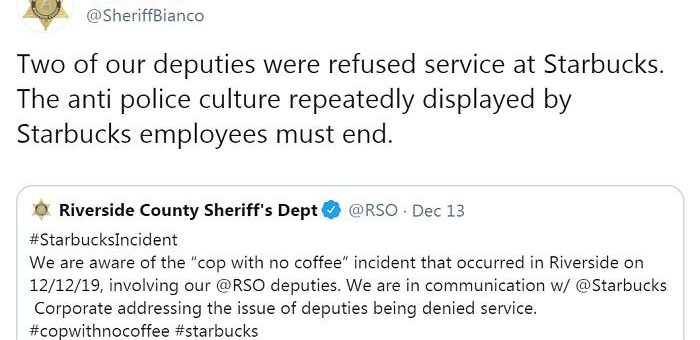 再次拒绝服务警察?星巴克向美国加州警察局致歉