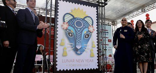 美国发行鼠年邮票,庆祝中国新年