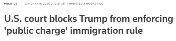 """移民松口气,美国法院继续禁止特朗普""""公共负担""""新规"""