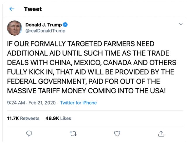 川普向美国农民伸橄榄枝 将给予额外经济补贴