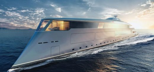 The 367-foot-long hydrogen-powered sustainable superyacht from Sinot Yacht Architecture & Design.