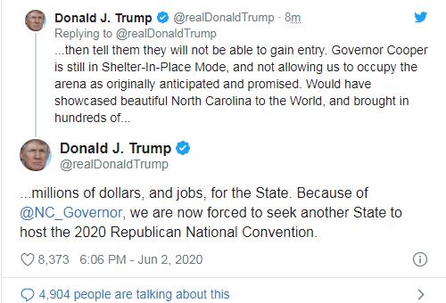 川普将把共和党全国代表大会主办地移出北卡