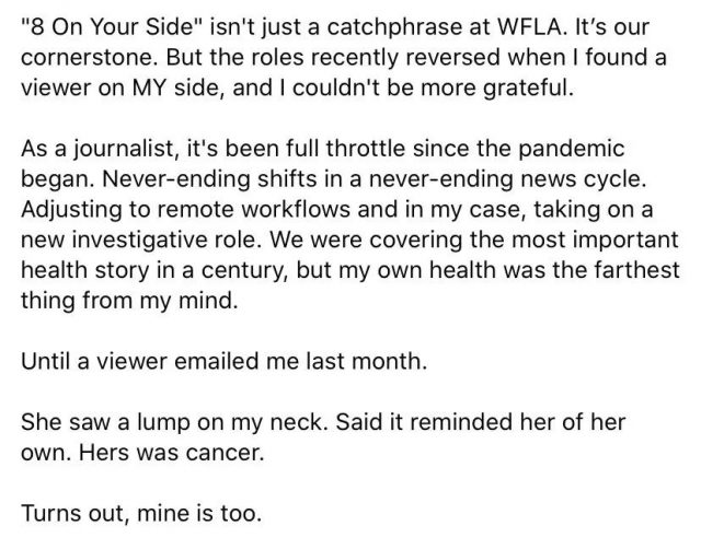 警惕! 美女记者正在直播 被观众发现这个症状 一查竟是癌症!