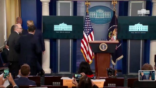 白宫外突发枪击!特工护送川普离开 记者会一度中断!