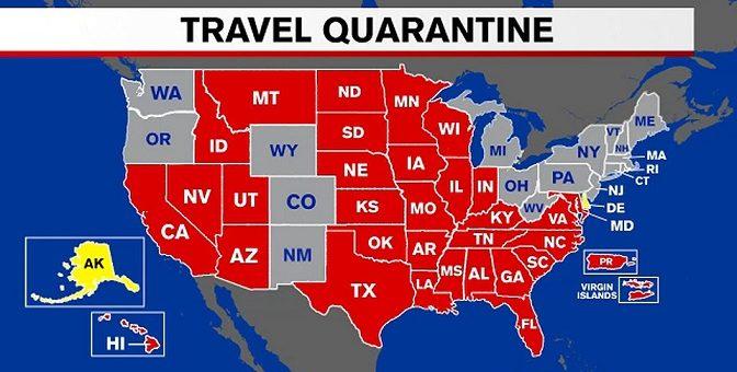 """纽约州""""高危州""""旅行隔离名单再增2州"""