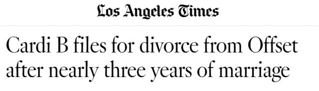 老公一再出轨,Cardi B忍无可忍提离婚:不接受调解,不要赡养费,离婚!给老娘滚!