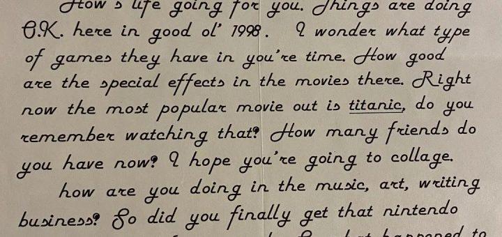 最近,他收到了22年前的自己写给自己的信……