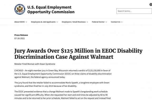 开除16年残疾老员工被罚1.25亿美元 沃尔玛到底冤不冤?