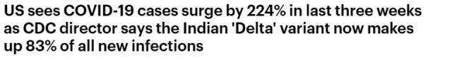 传染力前所未有!Delta变异已占全美83% ,FDA完全批准后,美将强制打疫苗!
