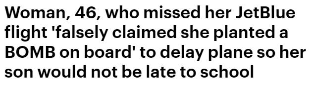 傻眼! 美国大妈没赶上飞机 竟谎称在飞机上放了炸弹 结果惨了!